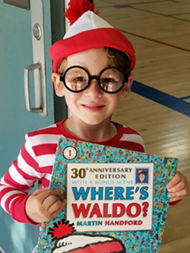 Student dressed up as Waldo