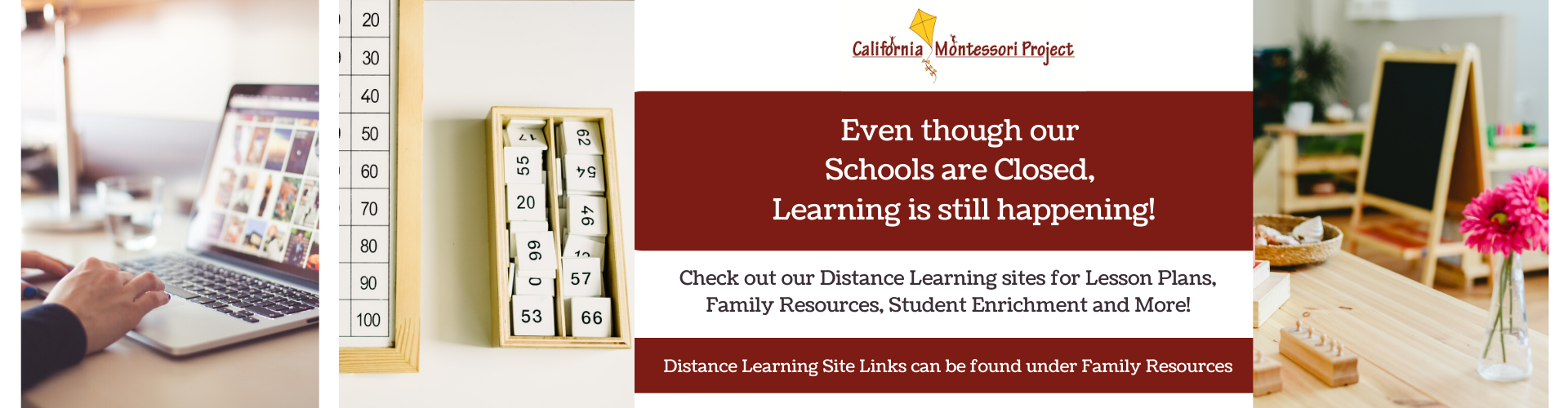 CMP is hosting Distance Learning. Even though our schools are closed, learning is still happening. Distance Learning Sites can be found under Family Resources.